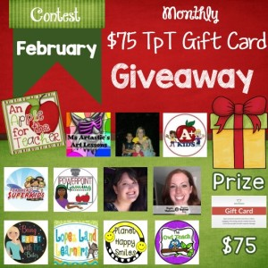 Feb 2016 $75 TpT gift card giveaway An Apple for the Teacher