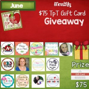 June 2016 $75 TpT gift card Giveaway An Apple for the Teacher